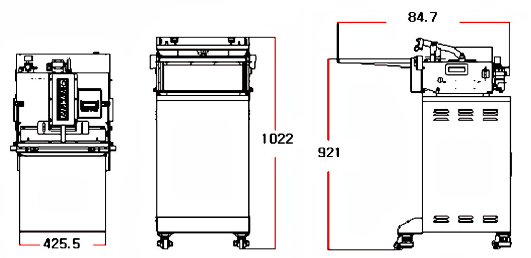 Stand-attached AZ450: Dimensions
