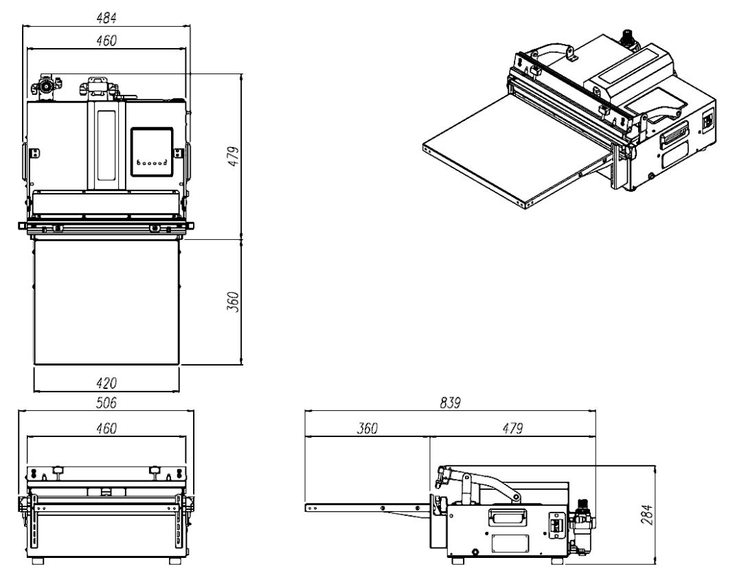 Dimensions of the vacuum packaging machine AZ450